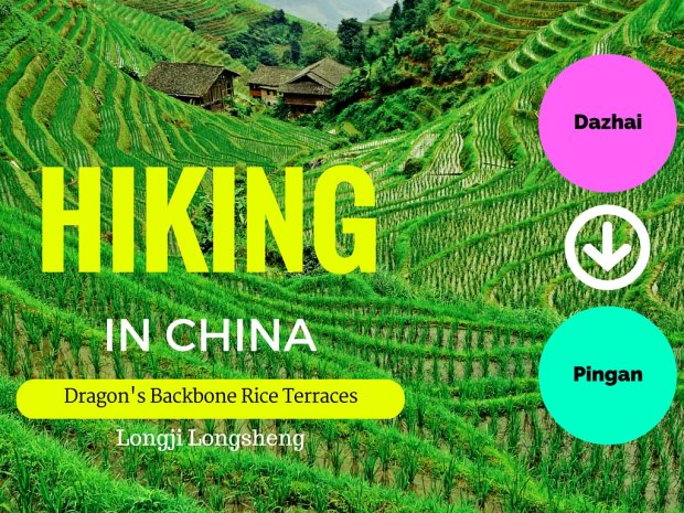 Hiking Dazhai to Pingan at Dragons Backbone Rice Terraces China