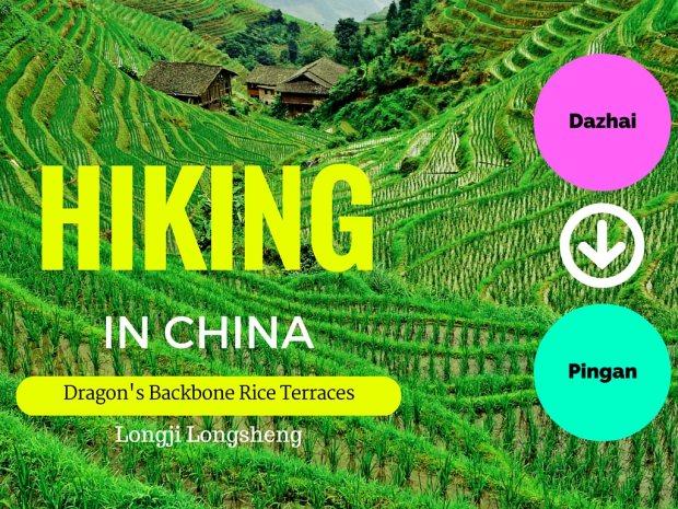 Hiking Dazhai to Pingan at Dragons Backbone Rice Terraces China
