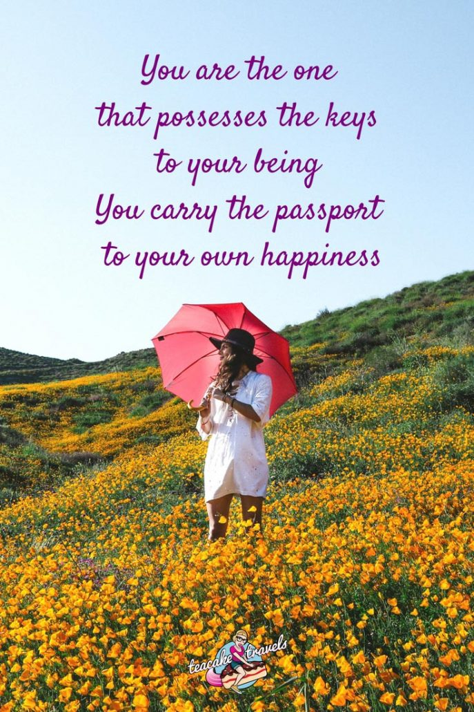 "Inspirational travel quotes for teen girls: ""You are the one that possesses the keys to your being. You carry the passport to your own happiness"" - Diane von Furstenberg"