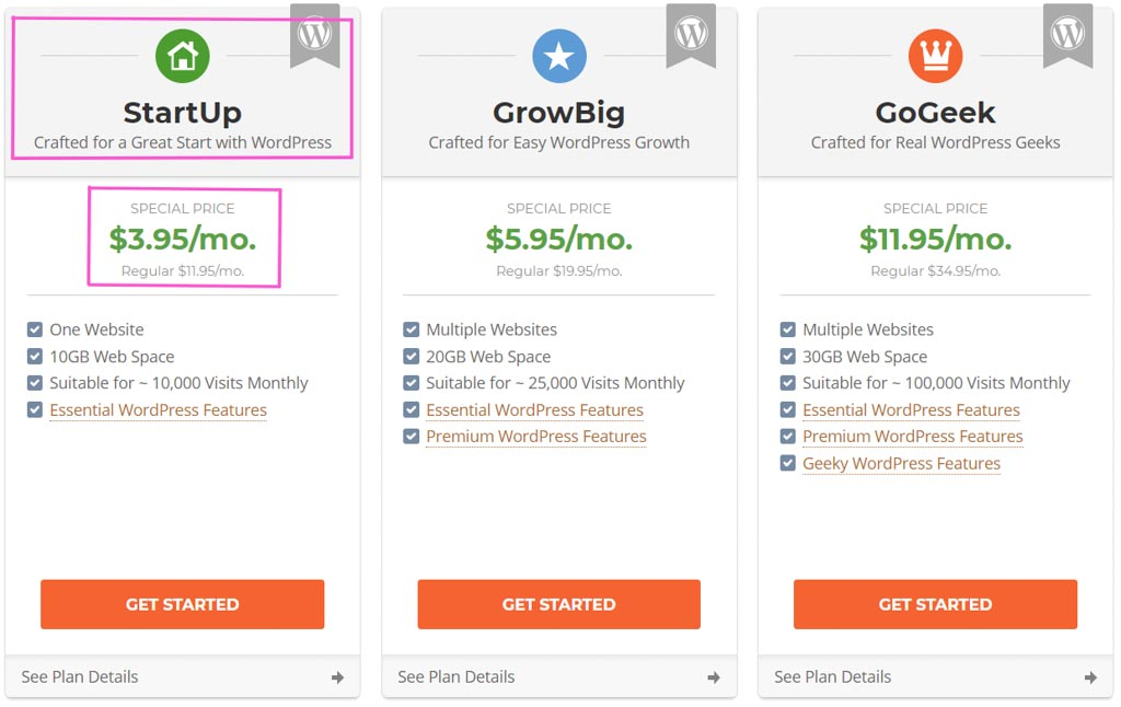 Siteground Hosting Plan Options