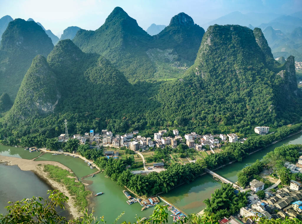 View of XingPing Village and mountains