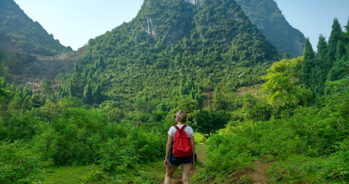 Blogger Alice looking at Chinese Mountains