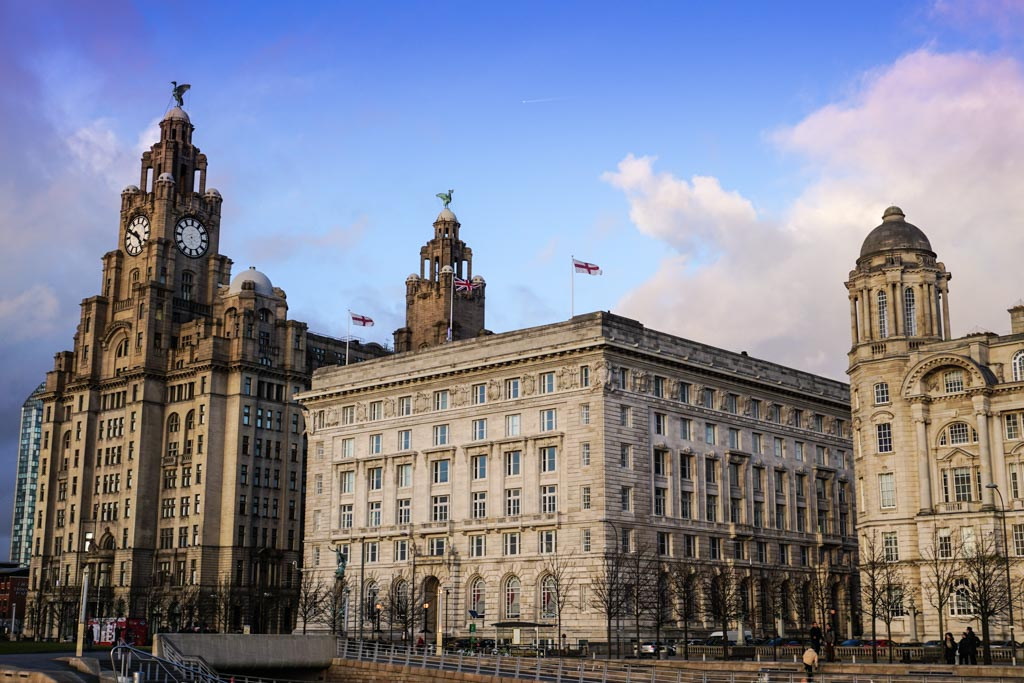 Visit Liverpool and walk along the waterfront on the River Mersey