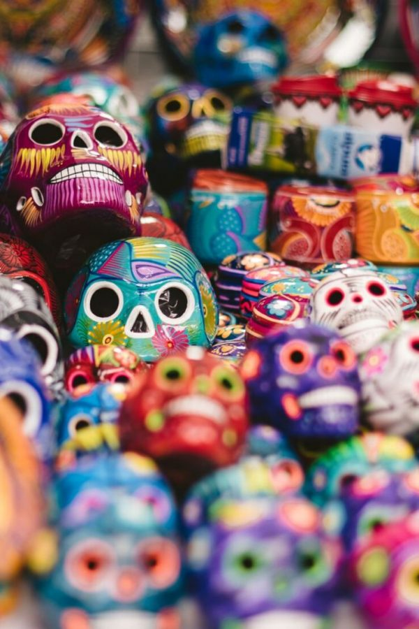 Plastic skulls in Mexico City which are painted in many bright colours!