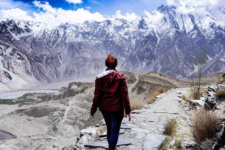 Trekking along the Passu Glacier in North East Pakistan