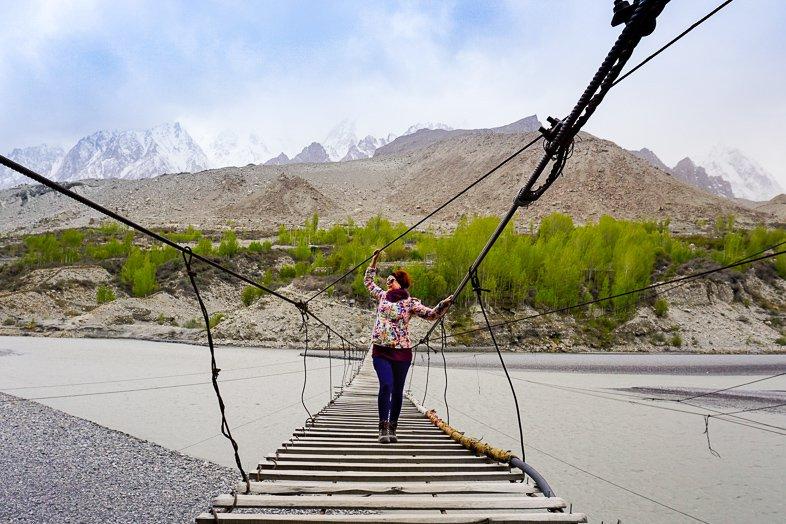 Hussaini Suspension Bridge in North Pakistan