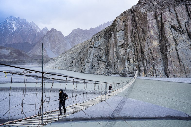 Hussaini Suspension Bridge in North Pakistan