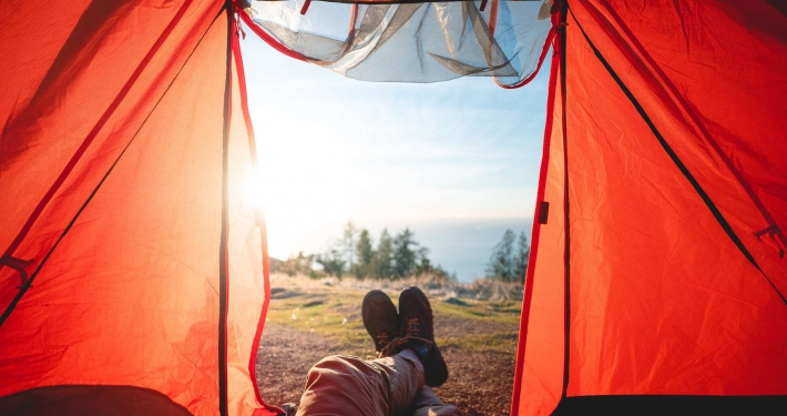 Camping alone camping trip