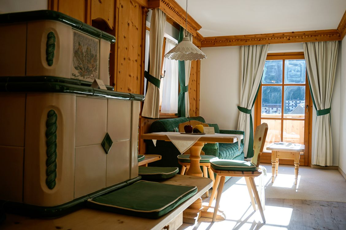 Inside Hotel Chalet del Sogno with its wooden cosy features