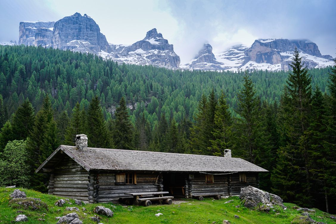 Rifugio Spinale in front of the amazing Brenta Dolomites Italy