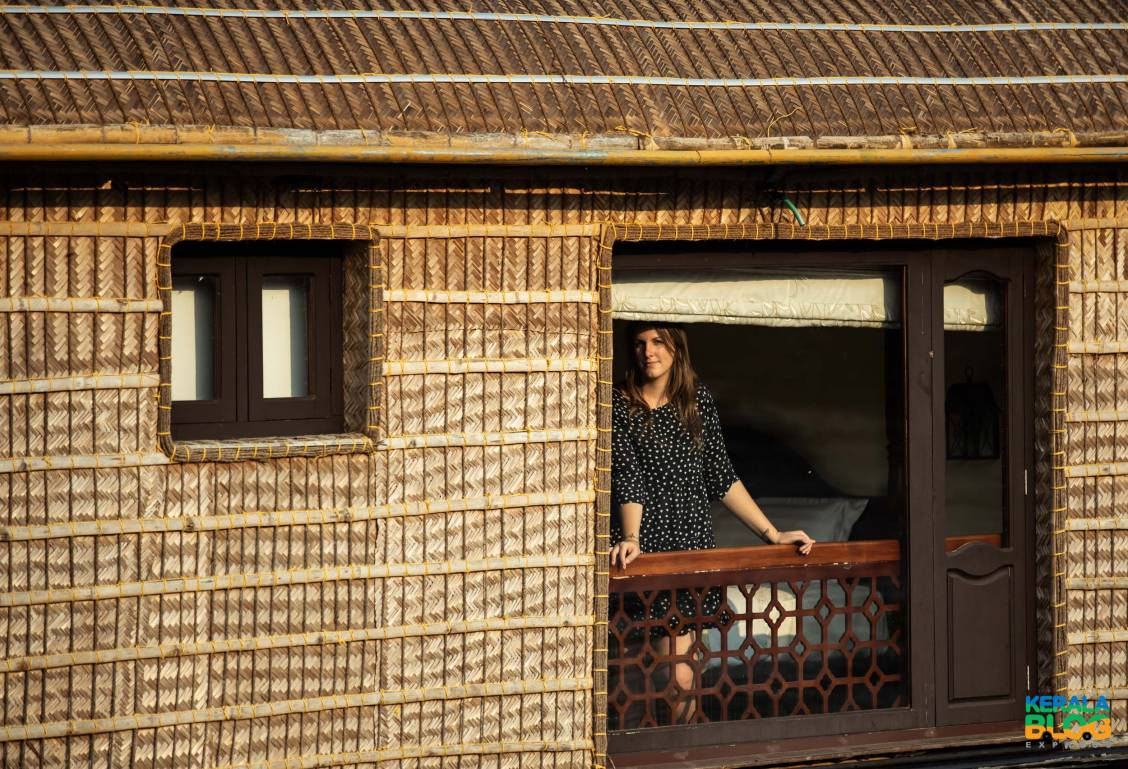 Girl standing on a Alleppey Houseboat