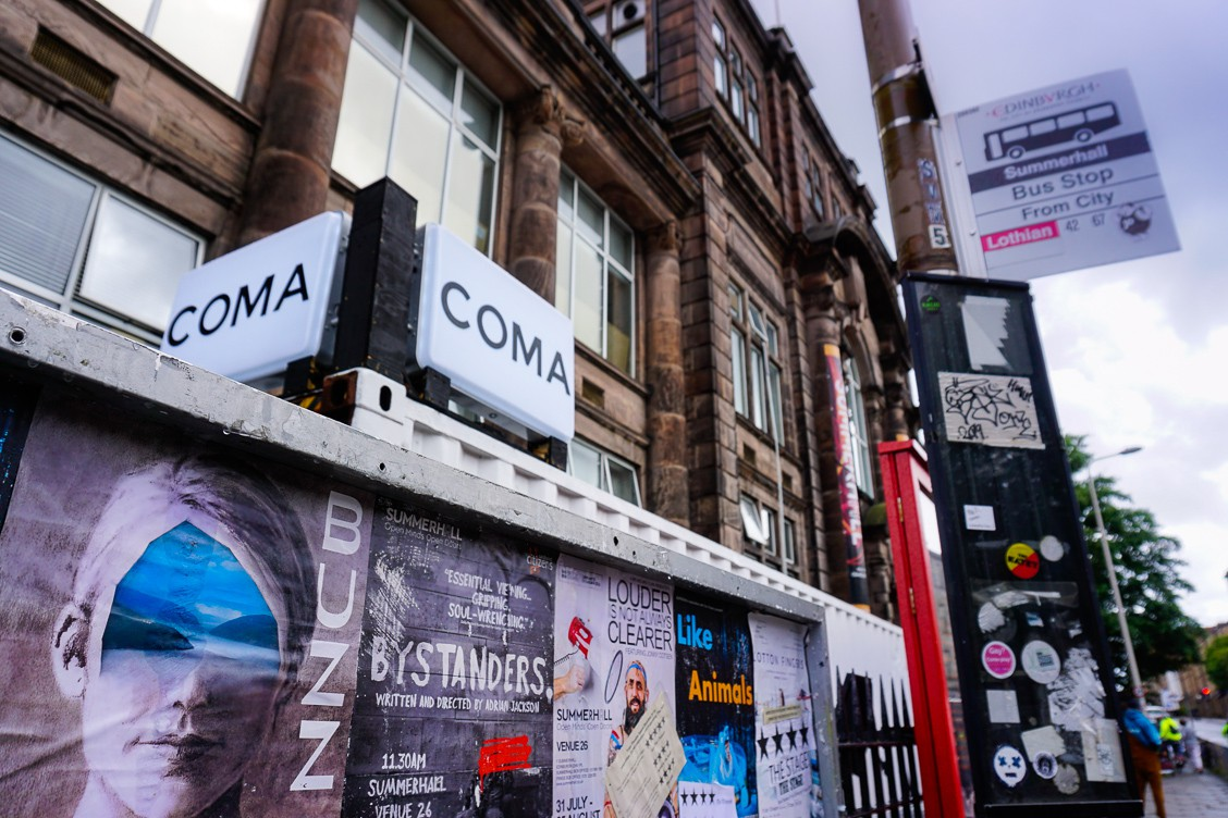 Outside the COMA experience at the Edinburgh Fringe Festival in Scotland