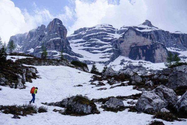 Nicola, a local mountain guide, hiking up to Rifugio Tuckett