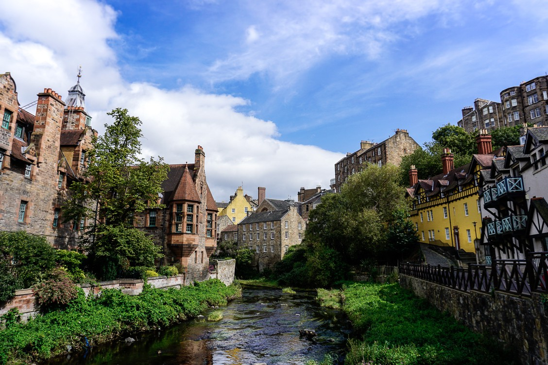View of Dean village and the river running through it