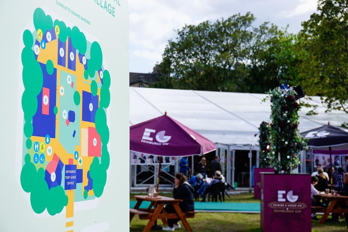 Map of the Edinburgh International Book Festival in Charlotte Square Gardens