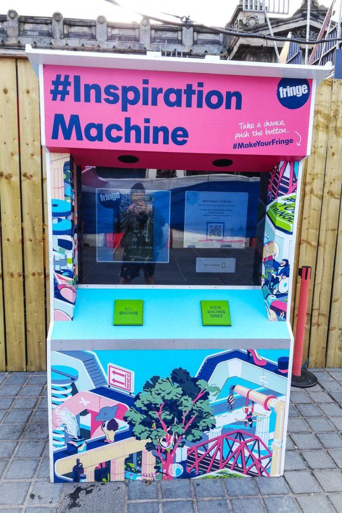 The Inspiration Machine next to the Virgin Money Half-Price Hut