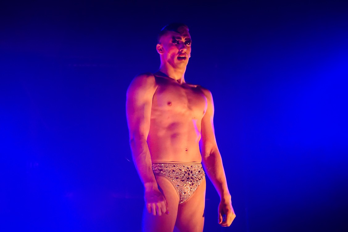 Male performer from the Little Death Club cabaret show in skimpy sequin underpants