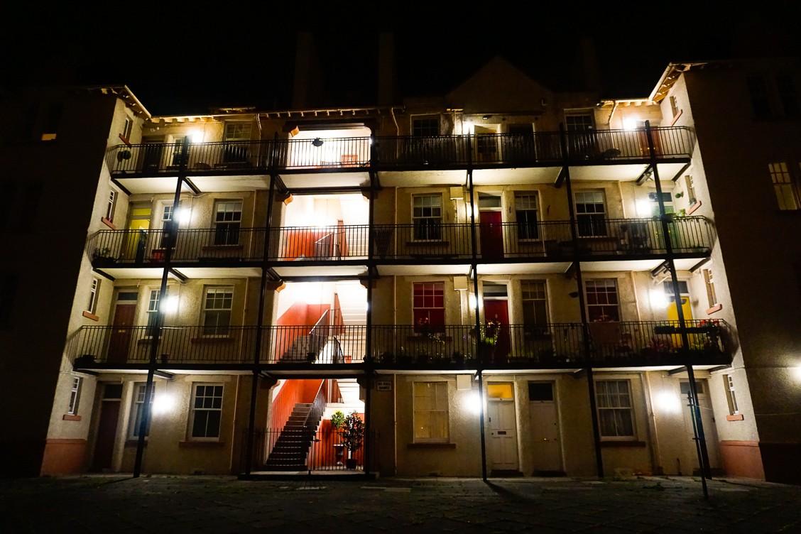 Apartments in Edinburgh Scotland at night