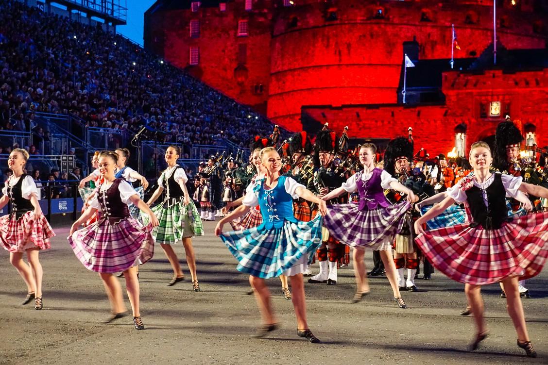 Young women dancers at the Royal Edinburgh Military Tattoo in beautiful Tartan skirts!