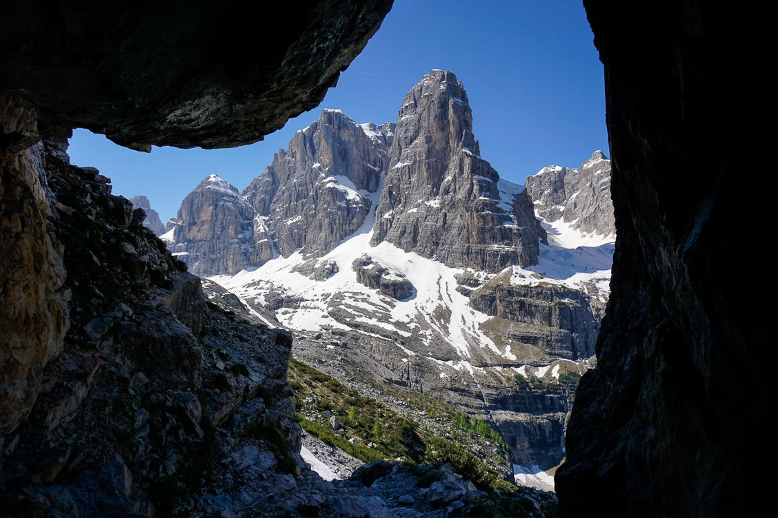 Dolomiti di Brenta along the trail to Rifugio ai Brentai framed by rock