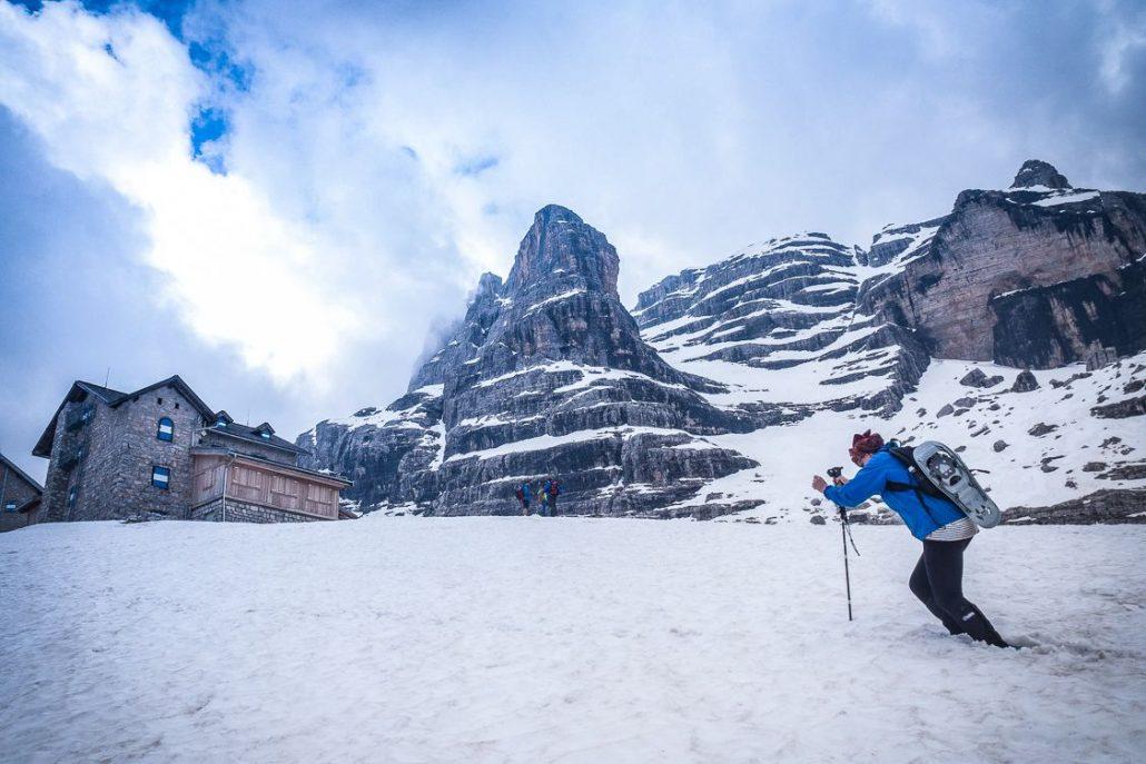 Alice Teacake reaching Rifugio Tuckett knee deep in snow