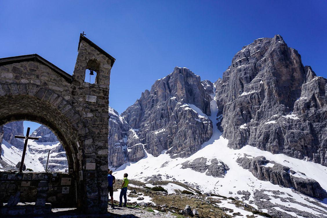 Chapel next to Rifugio ai Brentei in the Dolomiti di Brenta