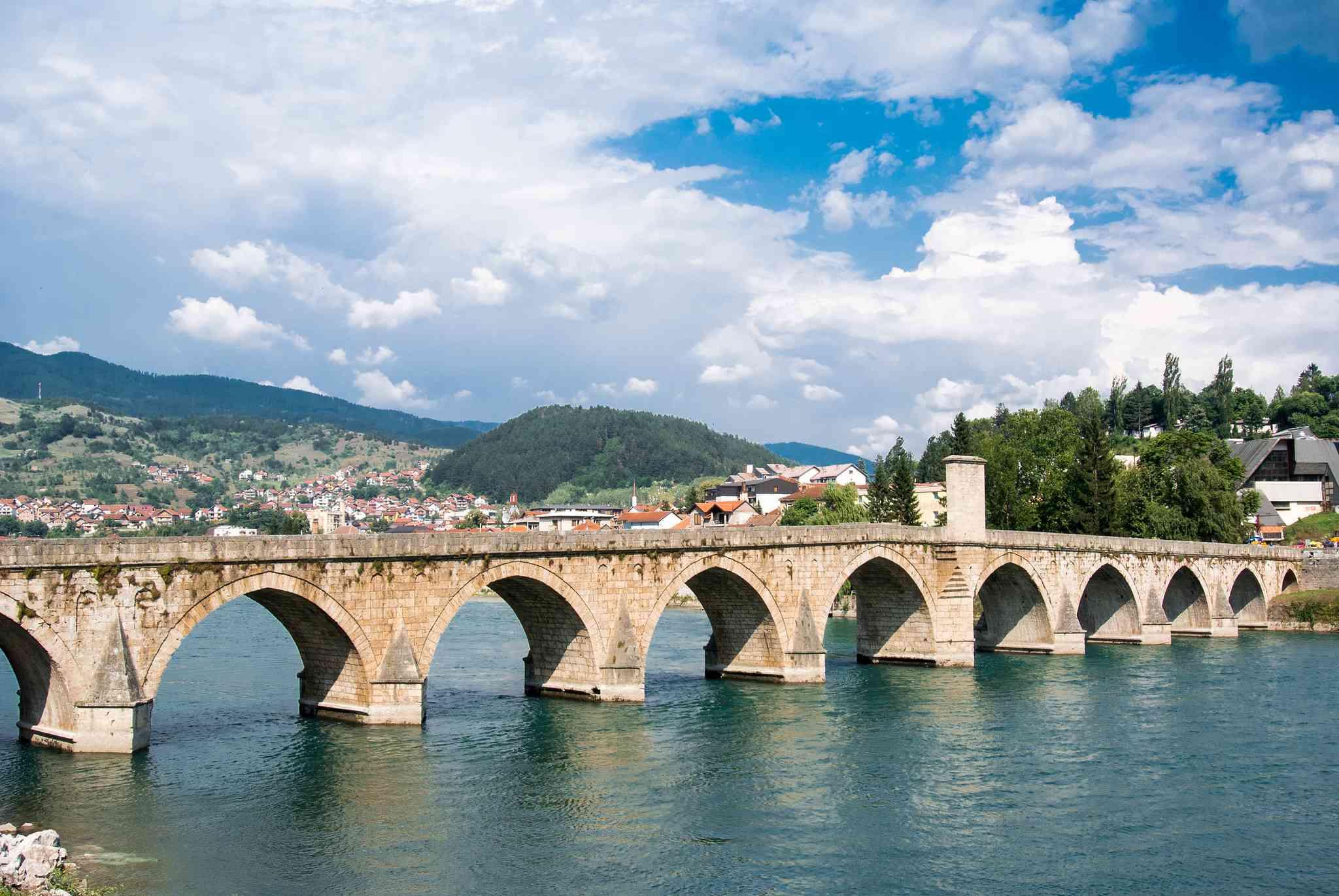 The town of Višegrad in Bosnia where Vilina Vlas Hotel is