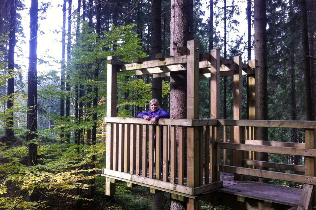 Photo of Alexandra's Daughter standing in a wooden treehouse amongst the trees in Beskydy
