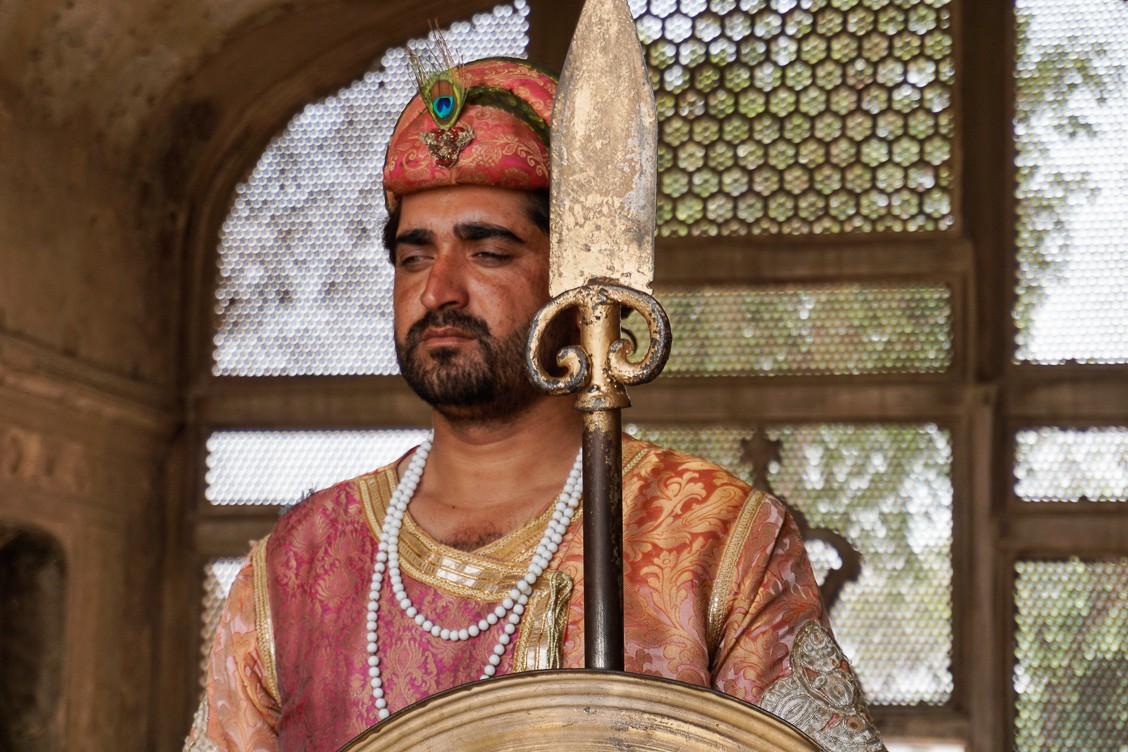 Warrior standing guard at Lahore Fort