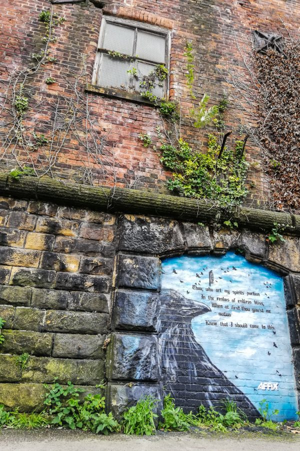 Street art of a crow along Victoria Quays Sheffield during outdoor activities in Sheffield