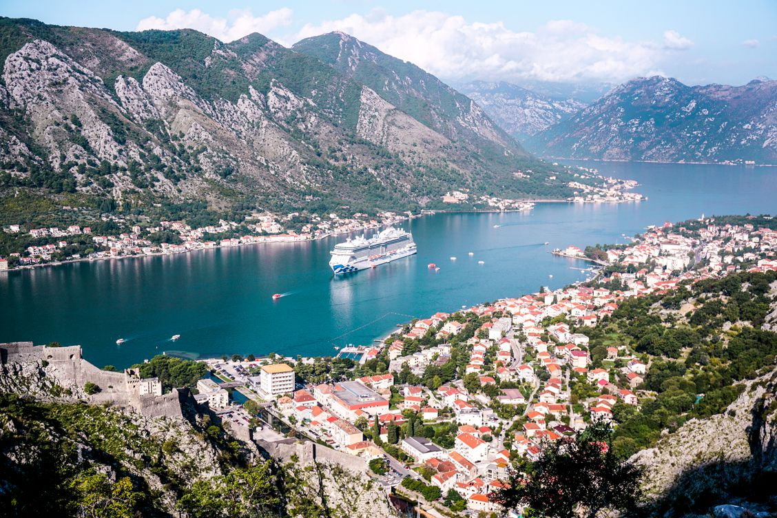 Birds eye view of Kotor Montenegro with Sky Princess prominent in the middle of the water