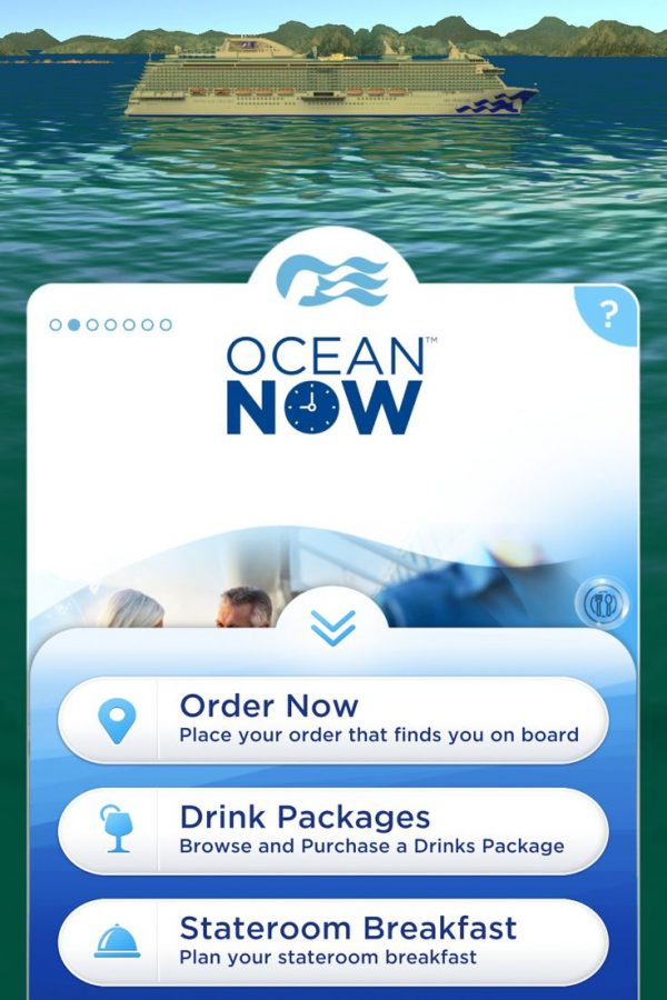 Ocean Now let's you order food on the MedallionClass app wherever you are on the ship