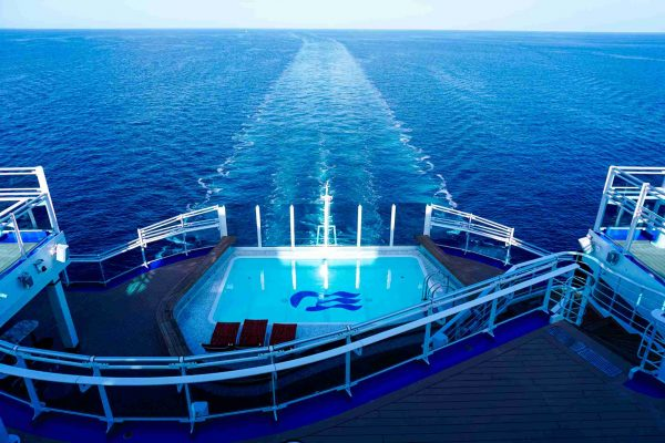 View from the back of Princess Cruises Sky Princess Ship with Ocean Medallion Class Service