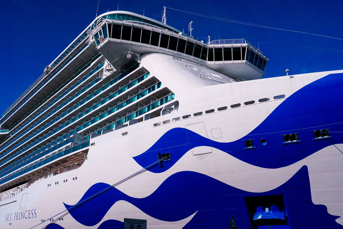 A close up view of Princess Cruises' Sky Princess ship before she sets sail