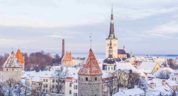 Photos of Tallinn, Estonia Old Town covered in a blanket of snow