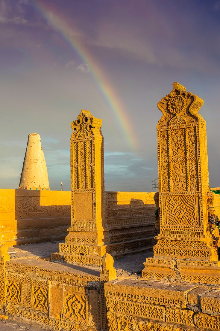 Photo of two tombstones at the tomb of the Seven Sisters in Sukkur