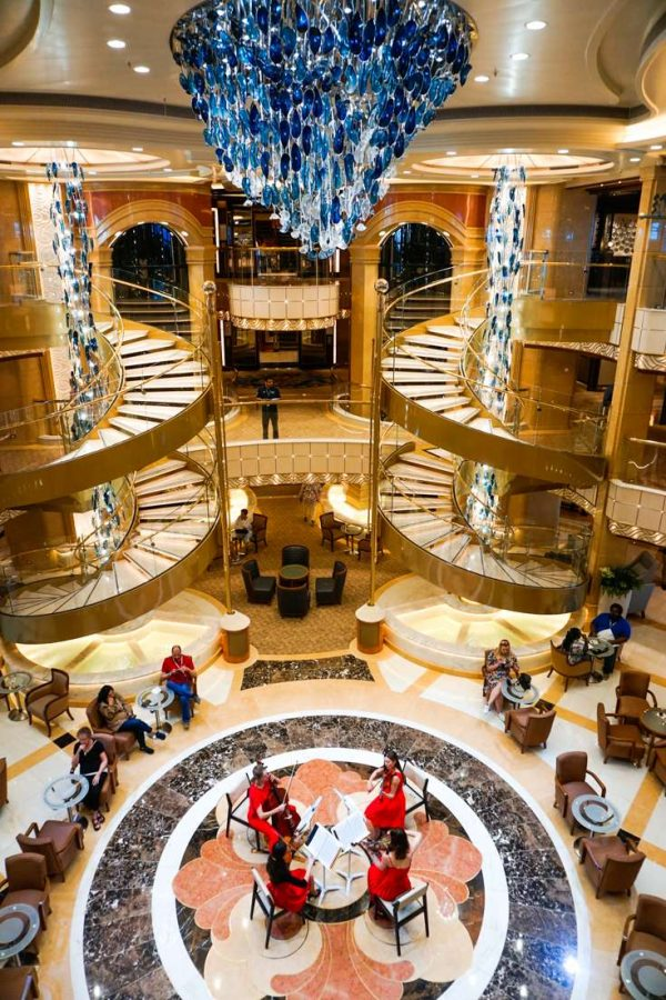 Photo of the Atrium from its marble floors to stunning blue-glass chandelier