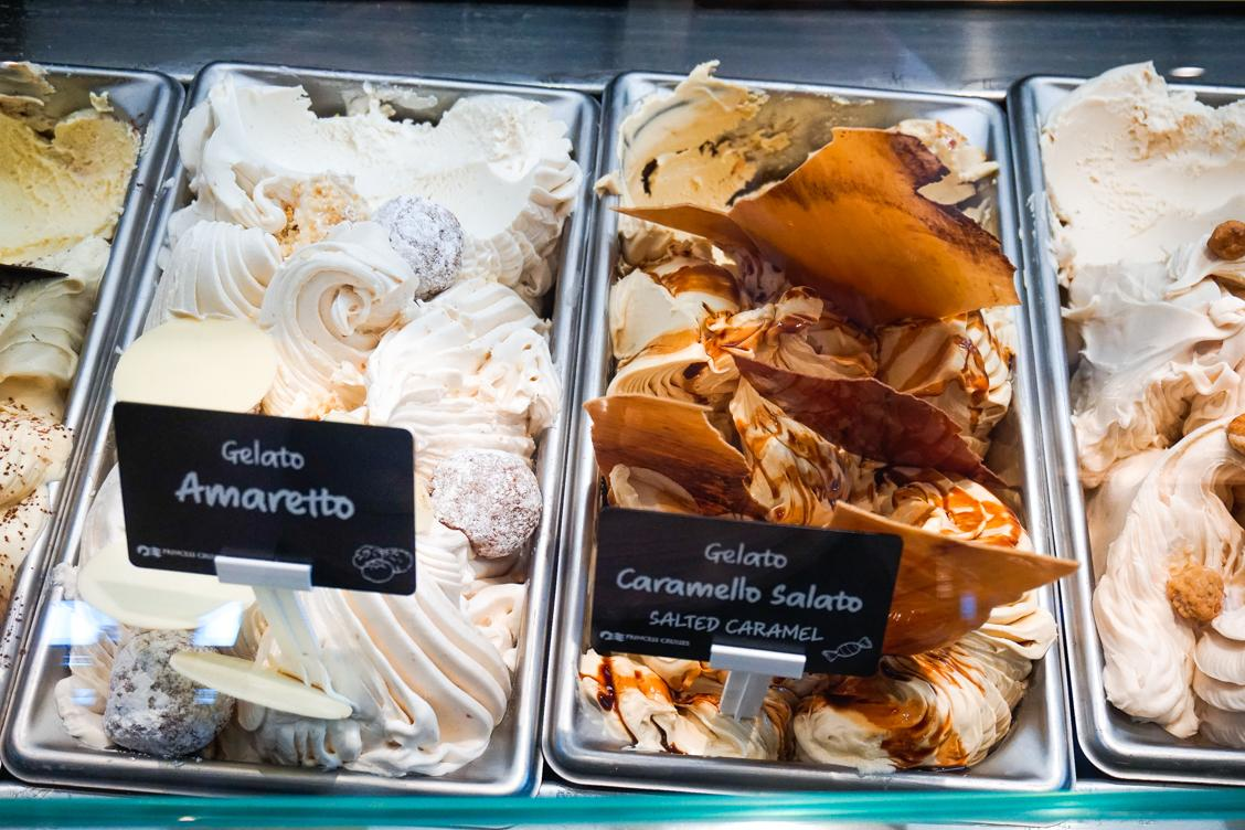 Photo of a few gelato options available in the Atrium including Salted Caramel and Amaretto