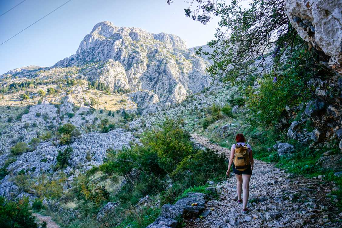 Photo of Alice hiking on the Ladder of Kotor