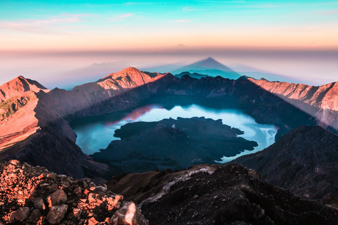 Mount Rinjani in Lombok Indonesia at sunrise