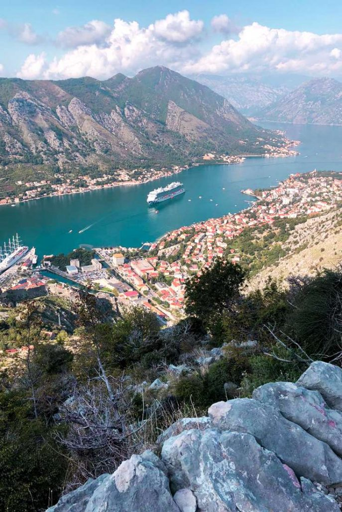 View from the top of the Ladder of Kotor hike which shows the bay, Princess Cruises Sky Princess Cruise ship and the old town of Montenegro