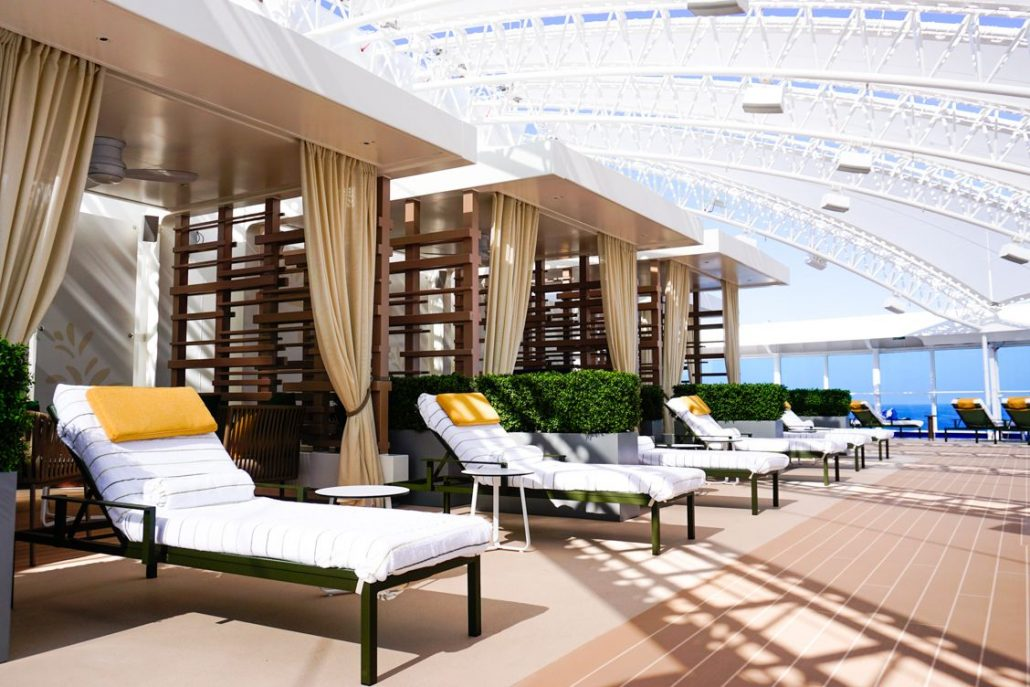 Photo of lawn chairs and private cabanas in the Sanctuary on the Sky Princess Cruise Ship