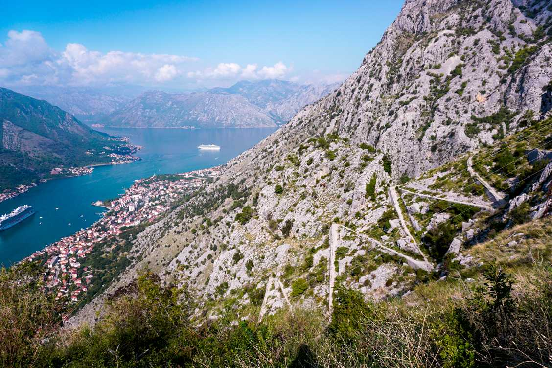 Photo from the third viewpoint to the right where you can see the back and forth of the path on the Ladder of Kotor