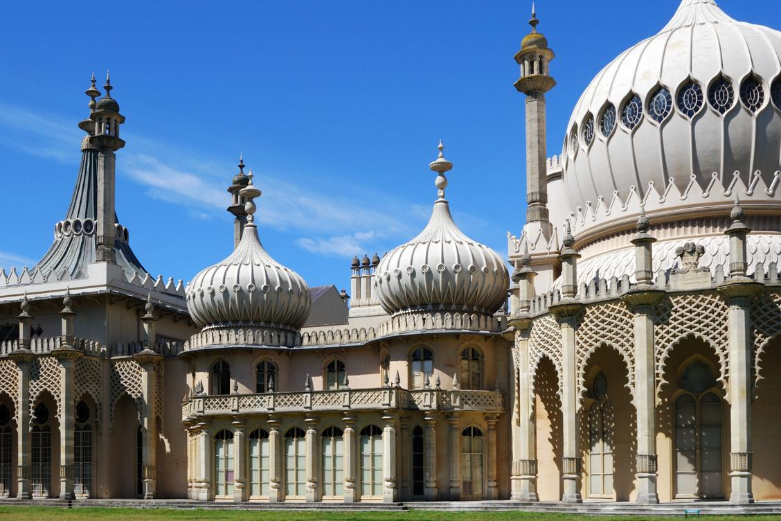 Magical outside exterior of the Royal Pavilion which has been compared to India's Taj Mahal