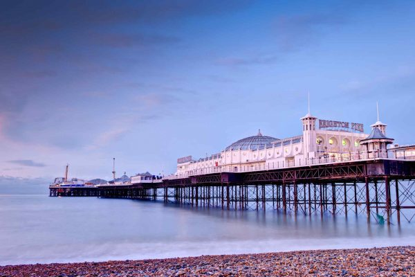 Beautiful view of Brighton Seafront Palace Pier at Sunset