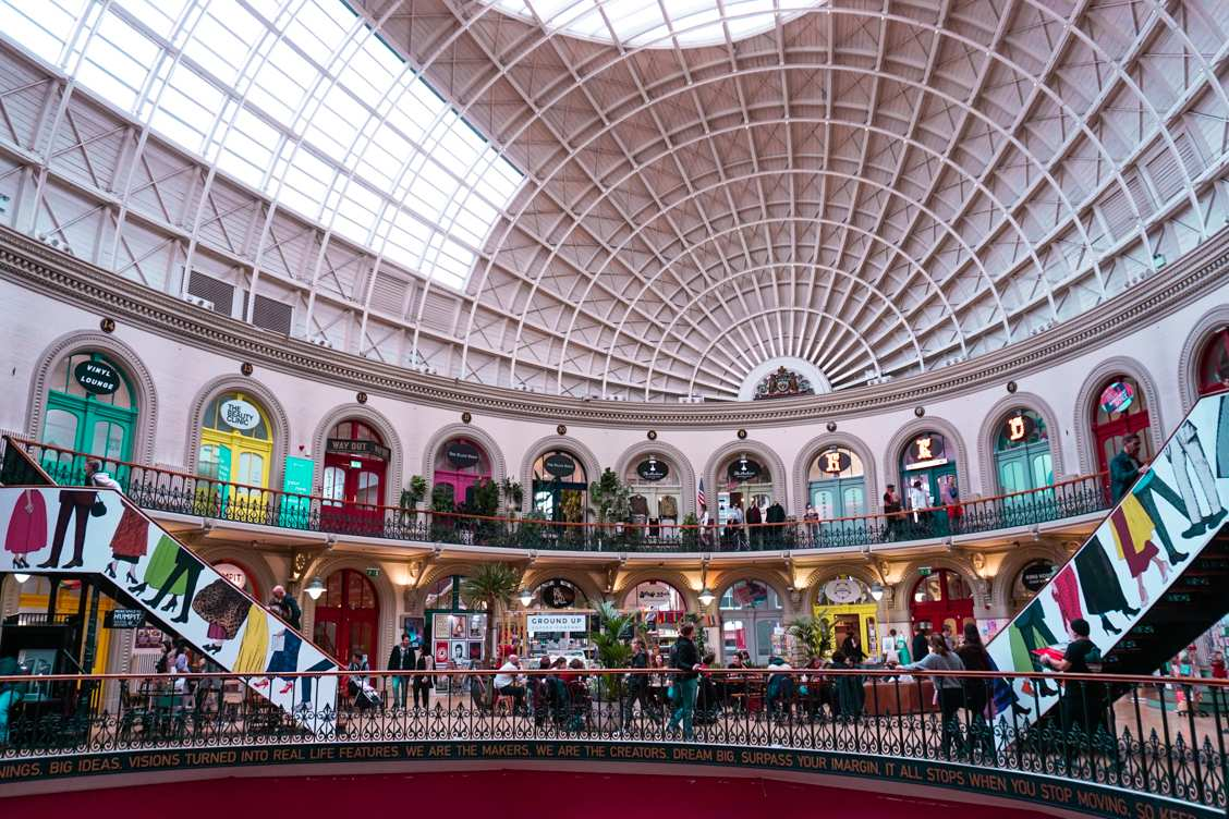 The stunning interior of Leeds Corn Exchange with its curved dome structure and twisting staircases