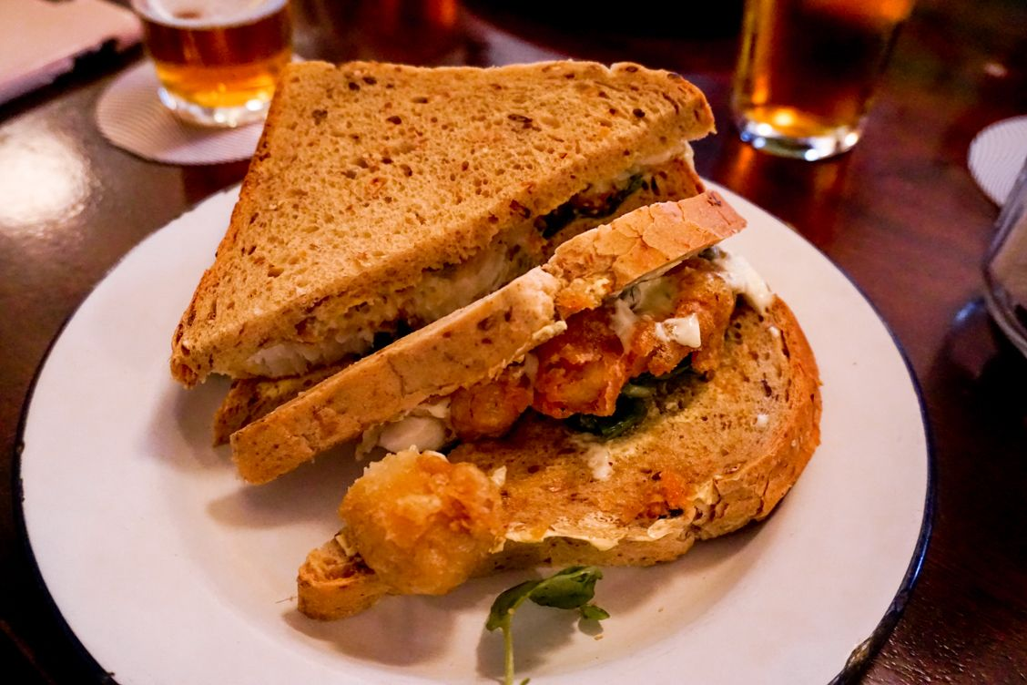 A golden and crunchy fish finger sandwich from Whitelocks Pub in Leeds