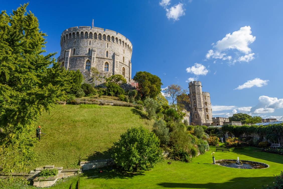 Windsor Castle in Windsor on a beautiful sunny day with blue skies